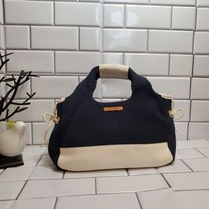 KATE SPADE  Navy Blue Canvas/ White Leather  Purse